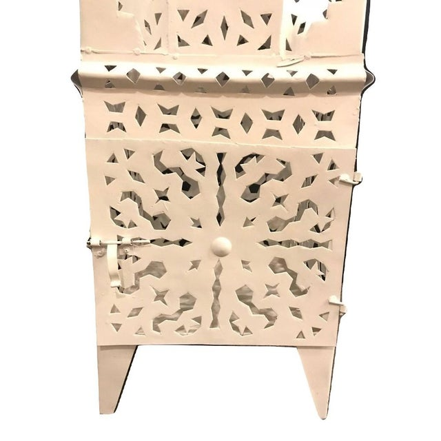 Moroccan Floor Candle Holder Lanterns in White - a Pair For Sale - Image 5 of 6