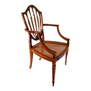 George III Style Library Arm Chair Paint Decorated Satinwood Cane Seat For Sale