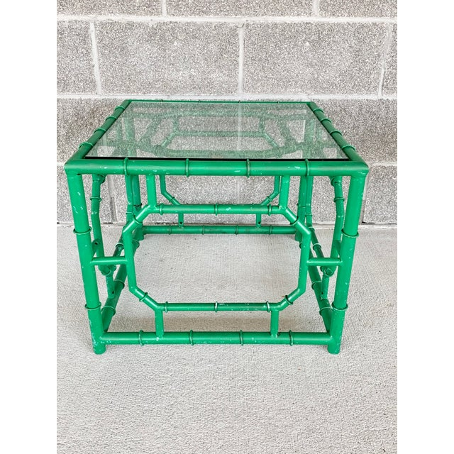 Metal Vintage Hollywood Regency Style Faux Bamboo Side Table-A Pair For Sale - Image 7 of 11