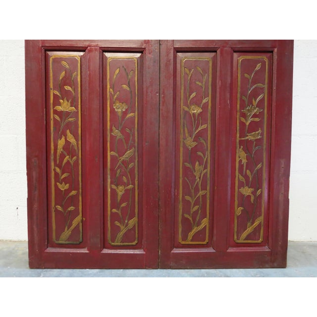 Antique Chinese Hand Carved Wooden Doors - a Pair For Sale - Image 5 of 11