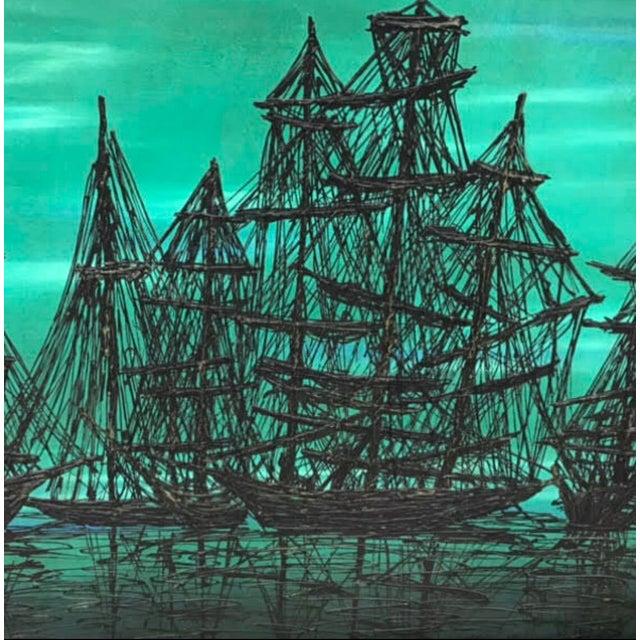 Mid-Century Modern Mid Century Modern 1960's Lee Reynolds Style Van Guard Studios Ships Drip Art Oil Painting For Sale - Image 3 of 8