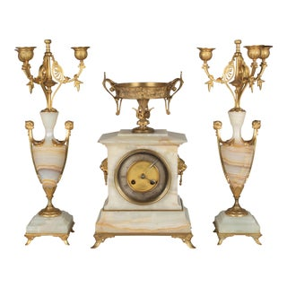 French Art Deco Mantle Clock and Candelabras For Sale