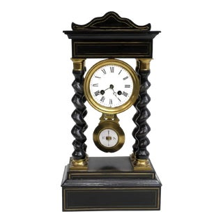 Antique French Napoleon III Period Vincenti Et Cie Ebonized Portico Mantle Clock For Sale