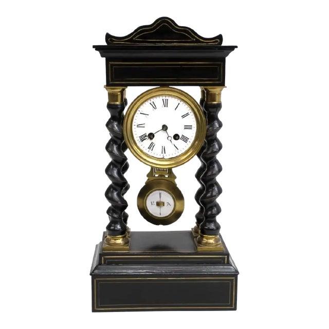 Antique French Napoleon III Period Vincenti Et Cie Ebonized Portico Mantle Clock For Sale