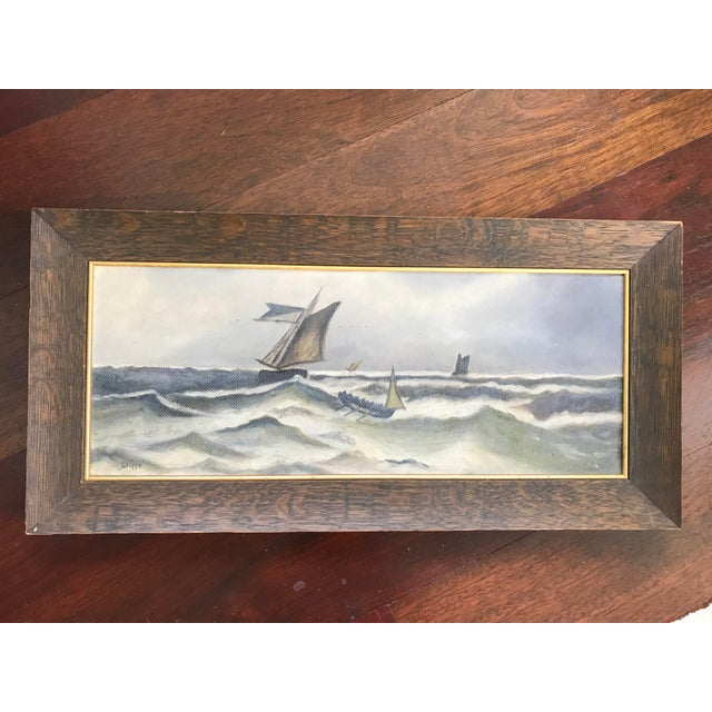 1930s Vintage Ocean Storm Seascape Oil on Canvas Painting For Sale - Image 6 of 8