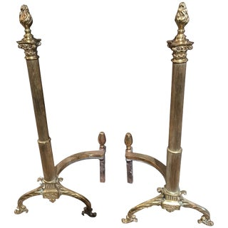 Pair of French Andirons or Chenets With Flame Finial Design, 19th Century For Sale
