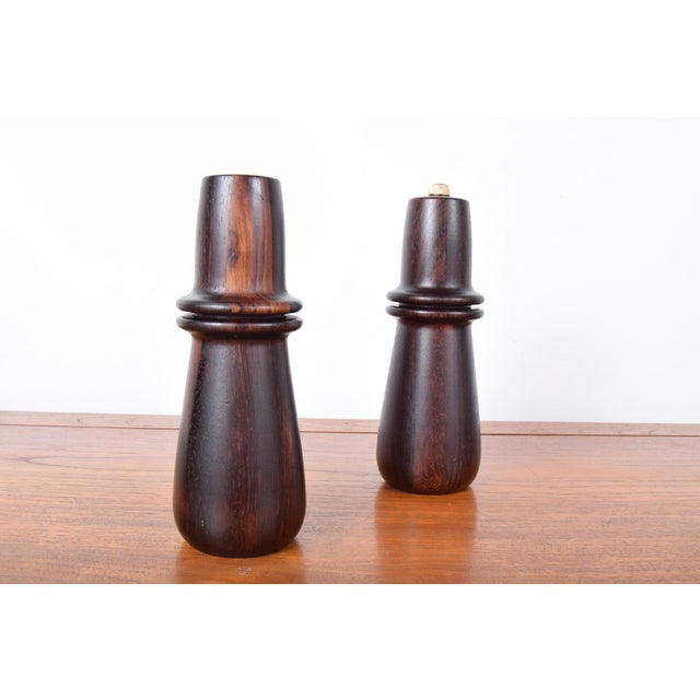 Solid Rosewood Peppermill and matching salt shaker by Digsmed of Denmark, circa 1966. Completely cleaned, re-oiled and...