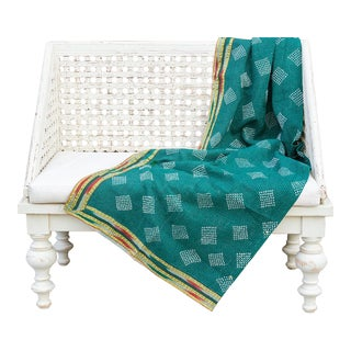 Emerald Bengal Kantha Throw For Sale