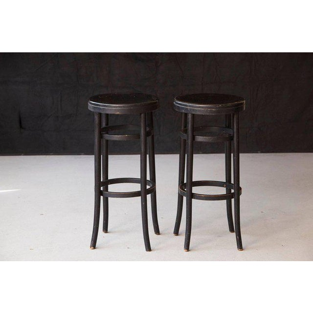 Mid-Century Modern Pair of Original Thonet Black Bentwood Bar Stools For Sale - Image 3 of 8