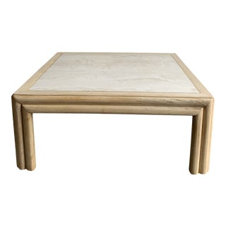 1980s Ribbed Bleached Oak and Marble Coffee Table For Sale