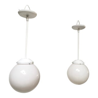 1960s Mid Century Glass Globe Pendant Lights - a Pair For Sale