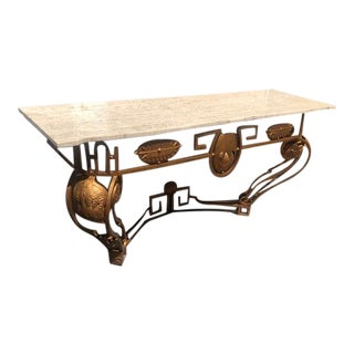 Vintage Style Travertine Top Iron Console Table For Sale