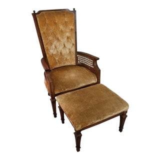 1920s Vintage Gothic Lounge Chair & Foot Stool For Sale