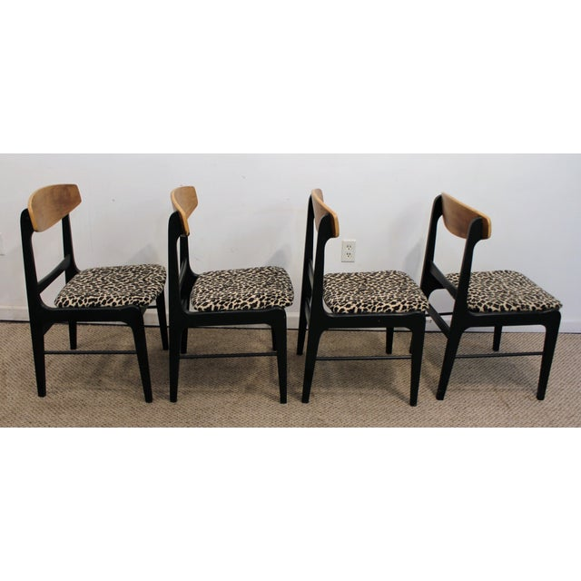 Danish Curve-Back Dining Chairs in Leopard - Set of 4 - Image 6 of 11