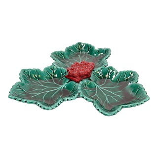 Vallauris French Glazed Grapes & Vine Leaves Ceramic Serving Plate Green and Red For Sale