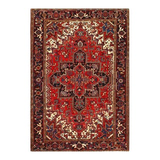 1960s Pasargad Red Antique Persian Heriz Serapi Rug 6'7'' X 9'4'' For Sale