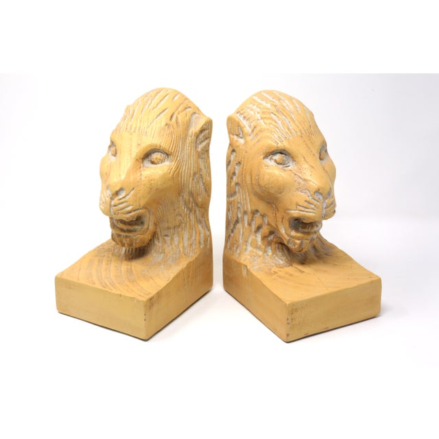 Figurative Vintage Hand Carved Lion Head Bookends For Sale - Image 3 of 10
