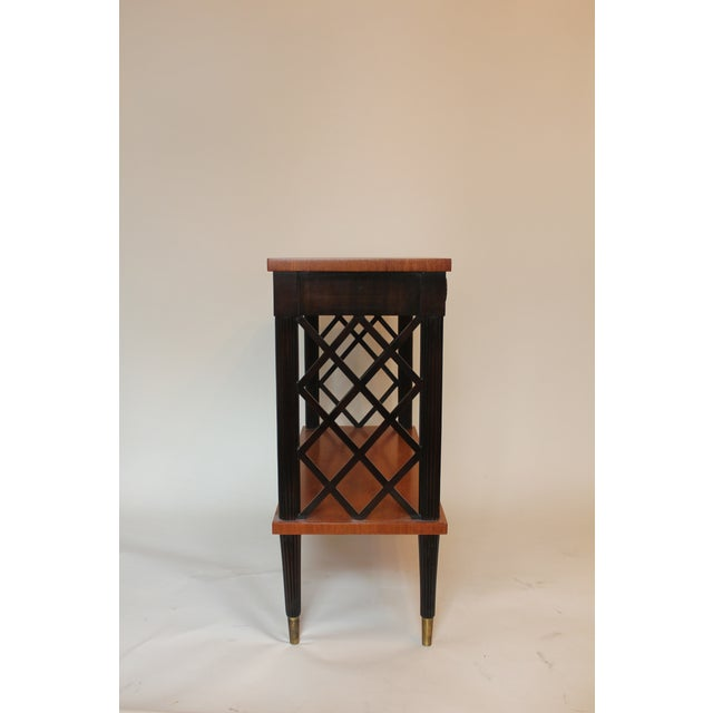 1940s Vintage Lattice Side and Reeded Leg Mahogany Console Table For Sale - Image 4 of 7