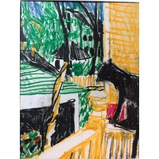 Cat at Window Oil Pastel 1970s For Sale