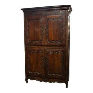 Vintage French Four-Door Provincial Armoire For Sale
