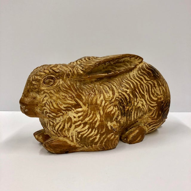 Sarreid hand carved wooden rabbit. Nicely textured detail to this handsome rabbit figure. Made in Spain.