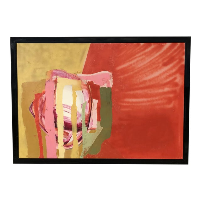 Mid Century Modern Red Painting For Sale