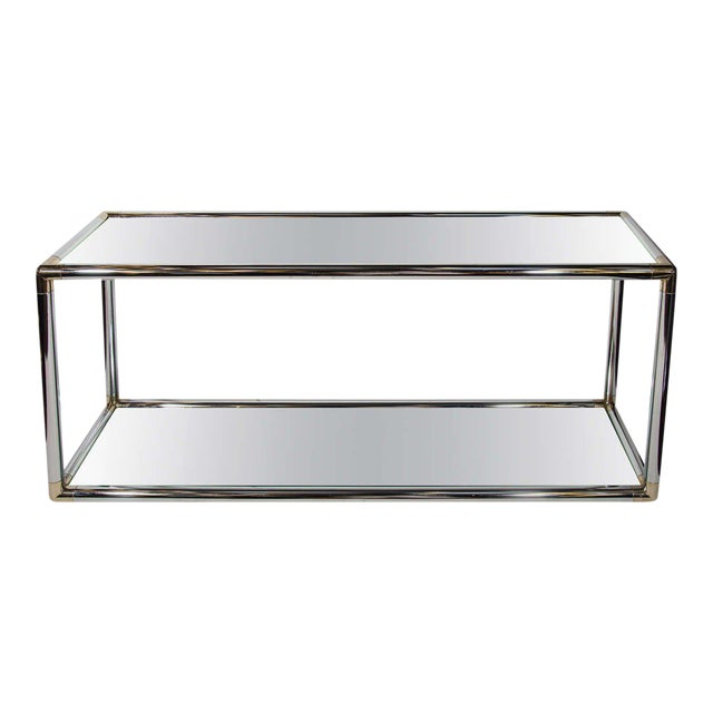 Italian mid-century modern console table or sofa table with two-tier design. Comprised of tubular chrome frame with...