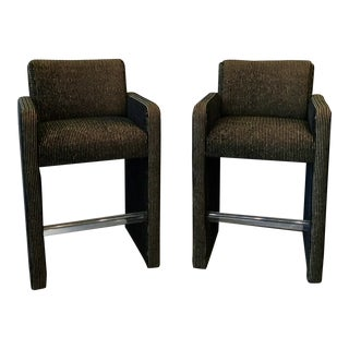 1980s Velvet Barstools - a Pair For Sale