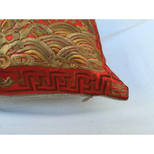Vintage Asian Red Silk Crane Boudoir Pillow For Sale - Image 5 of 5