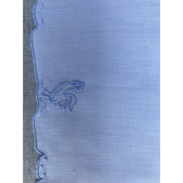 Shabby Chic 1960s Mid Century Blue & White Linen Cocktail Napkins With Rooster Motif - Set of 8 For Sale - Image 3 of 5