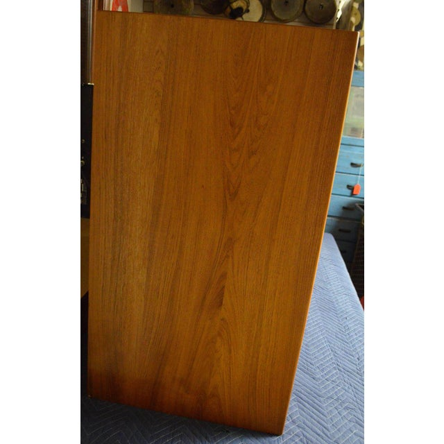 Storage Cabinet, Teak with Glass Doors, Wired for Electronics, Midcentury For Sale - Image 4 of 8