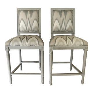 Louis XVI Inspired Custom Counter Height Barstools - A Pair