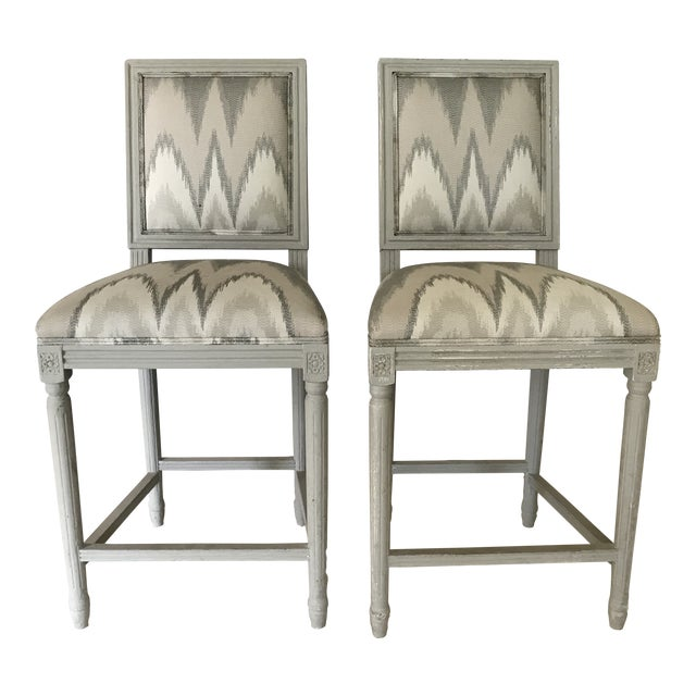 Louis XVI Inspired Custom Counter Height Barstools - A Pair For Sale