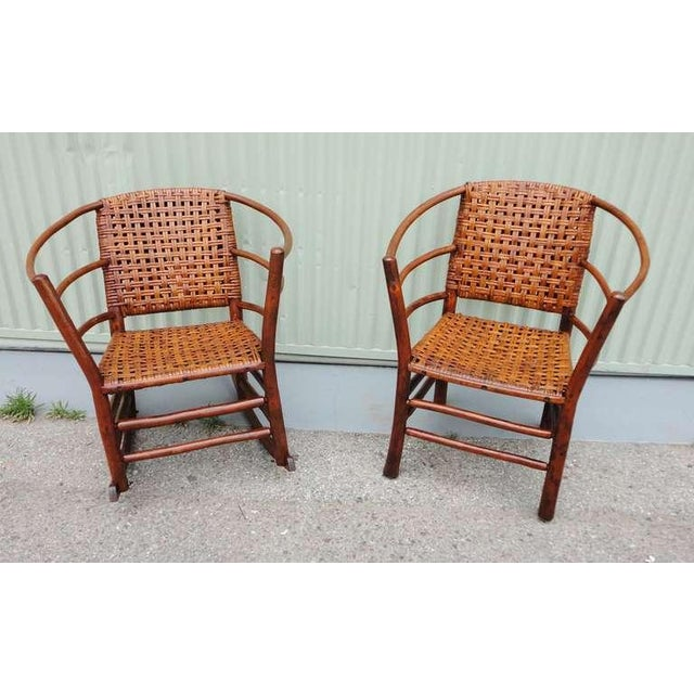 Pair of Signed Old Hickory Barrel Back Rocker and Side Chair - Image 3 of 9