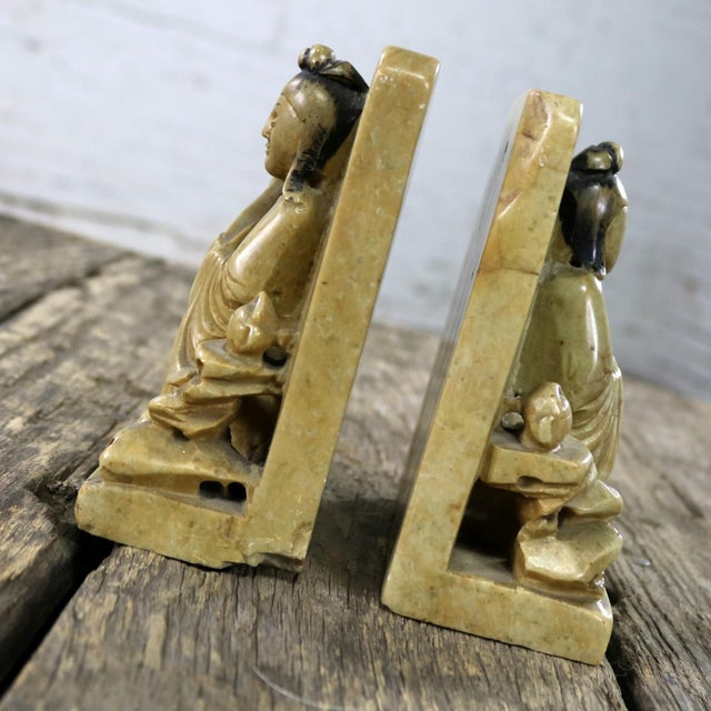 Asian Antique Carved Soapstone Bookends With Chinese Figures and Teapot Detail For Sale - Image 3 of 13