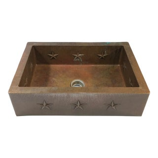 "Hammered Copper 33"" Star Apron Sink For Sale"