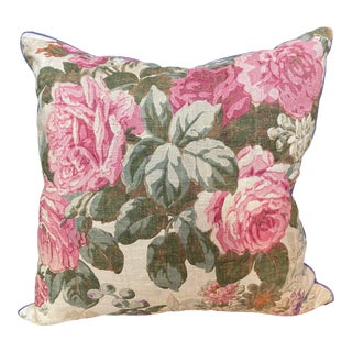 Vintage English Printed Floral Linen Pillow For Sale