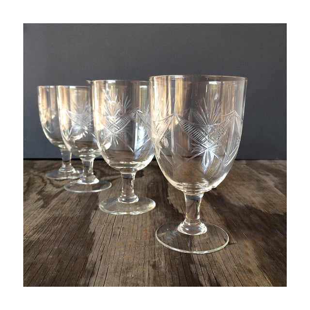 1940s Etched Wine Glasses/Goblets - Set of 8 - Image 3 of 6