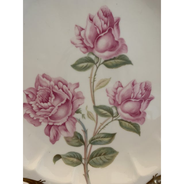 This beautiful Antique Rosenthal Serving Plate / charger has beautiful pink roses on a solid white background with an...