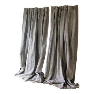 Custom Made Cream & Charcoal Silk Striped Drapery Panels - a Pair For Sale