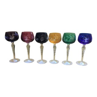 Vintage Colored Glass Cutout Wine Goblets - Set of 6 For Sale