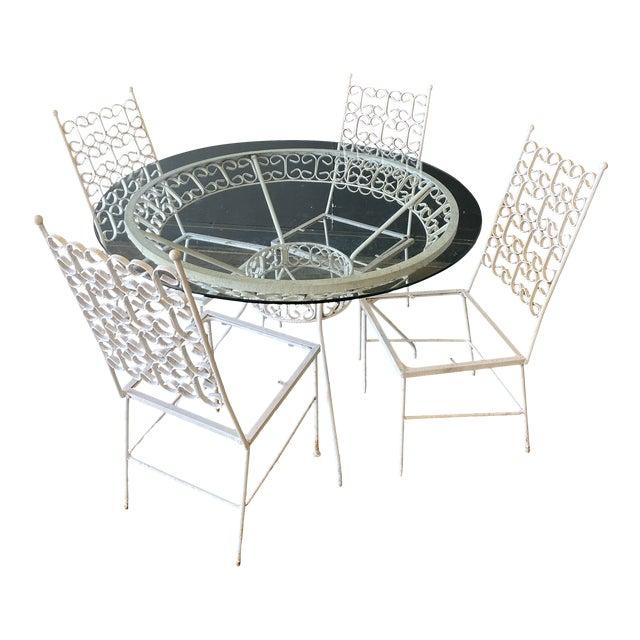 Mid Century Modern Arthur Umanoff Iron Patio Table & 4 Chairs For Sale