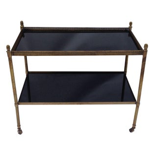 Italian Brass & Smoked Glass Bar Cart