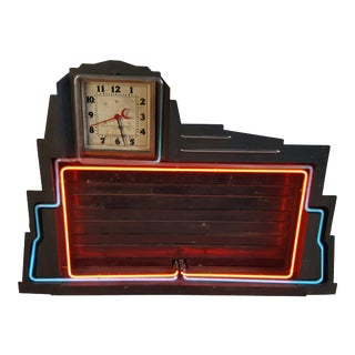 Classic Art Deco Two-Color Neon Clock and Sign Menu Board For Sale