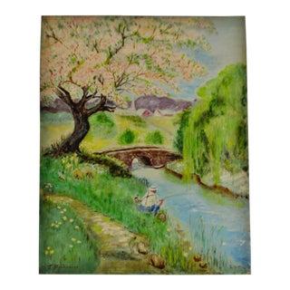 Vintage Oil on Canvas Board Landscape Fishing Scene - Artist Signed For Sale