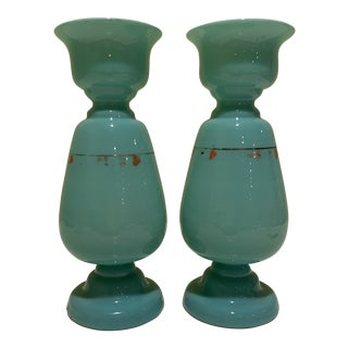 French Aqua Opaline Glass Vases - a Pair For Sale