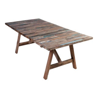 Salvaged Wood Balinese Trestle Table For Sale