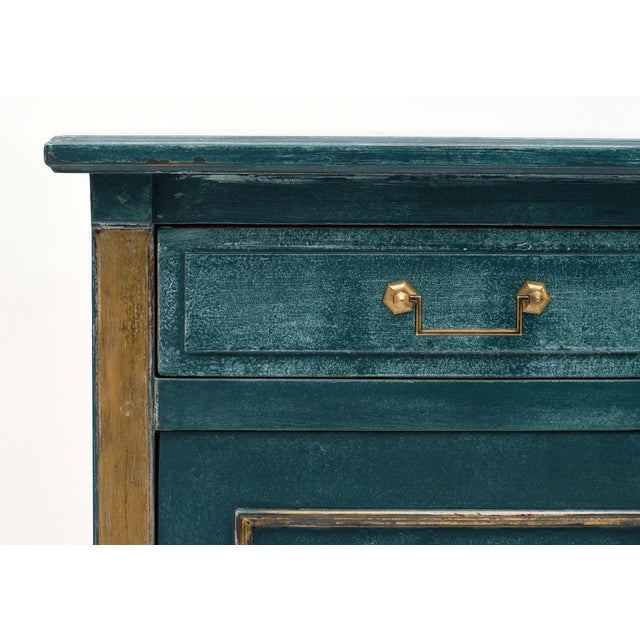 Metal Antique Directoire Style Teal Buffet For Sale - Image 7 of 10