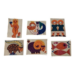 1970s Swedish Zodiac Linen Prints, Set of 6 For Sale