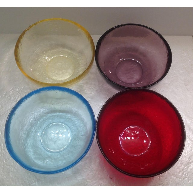 Set of four beautiful Yalos Casa Murano Bowls. Set includes: turquoise, purple, red and yellow. All signed and marked...